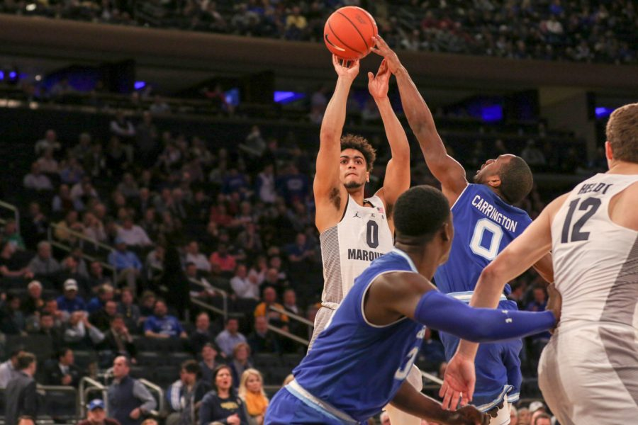 Markus Howard didn't make a basket in the first half in Marquette's loss to Seton Hall Thursday.