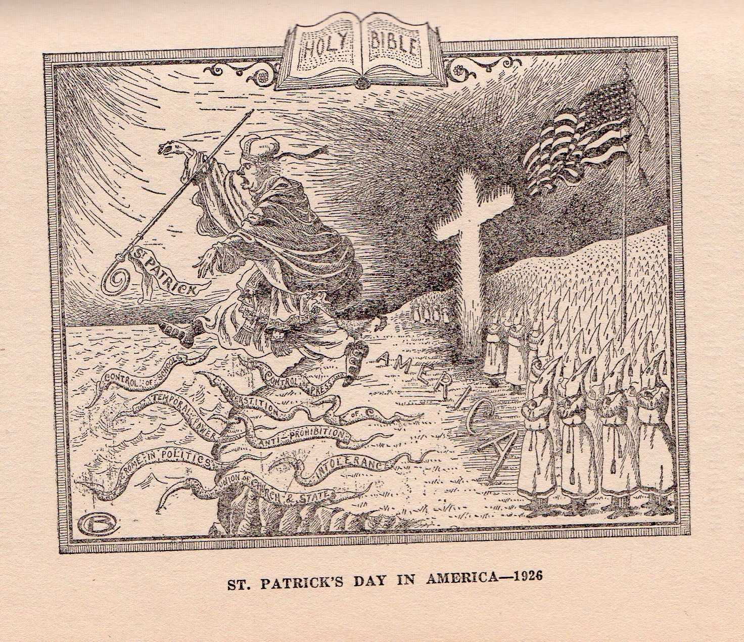 This 1920s cartoon shows the Ku Klux Klan chasing the Catholic Church, personified as St. Patrick, from the shores of the United States.