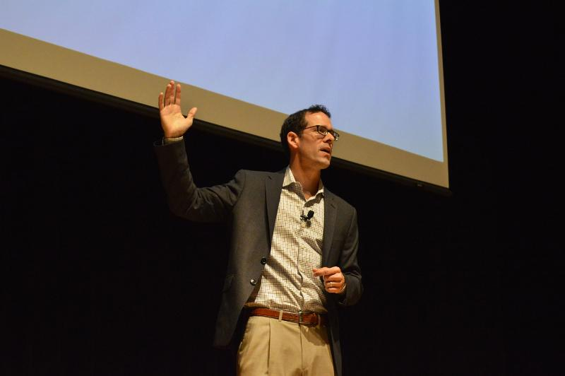 Paul DePodesta speaks in the Weasler Auditorium Thursday afternoon.