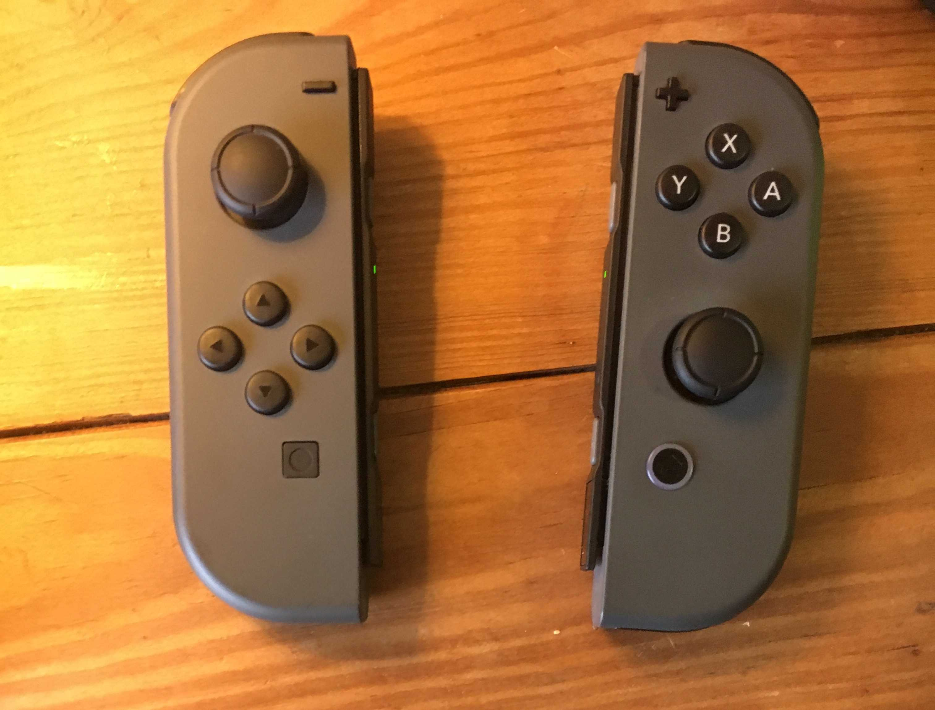 Joy-Con controllers for the Nintendo Switch. These tiny controllers can combine to create one large controller in multiplayer mode.
