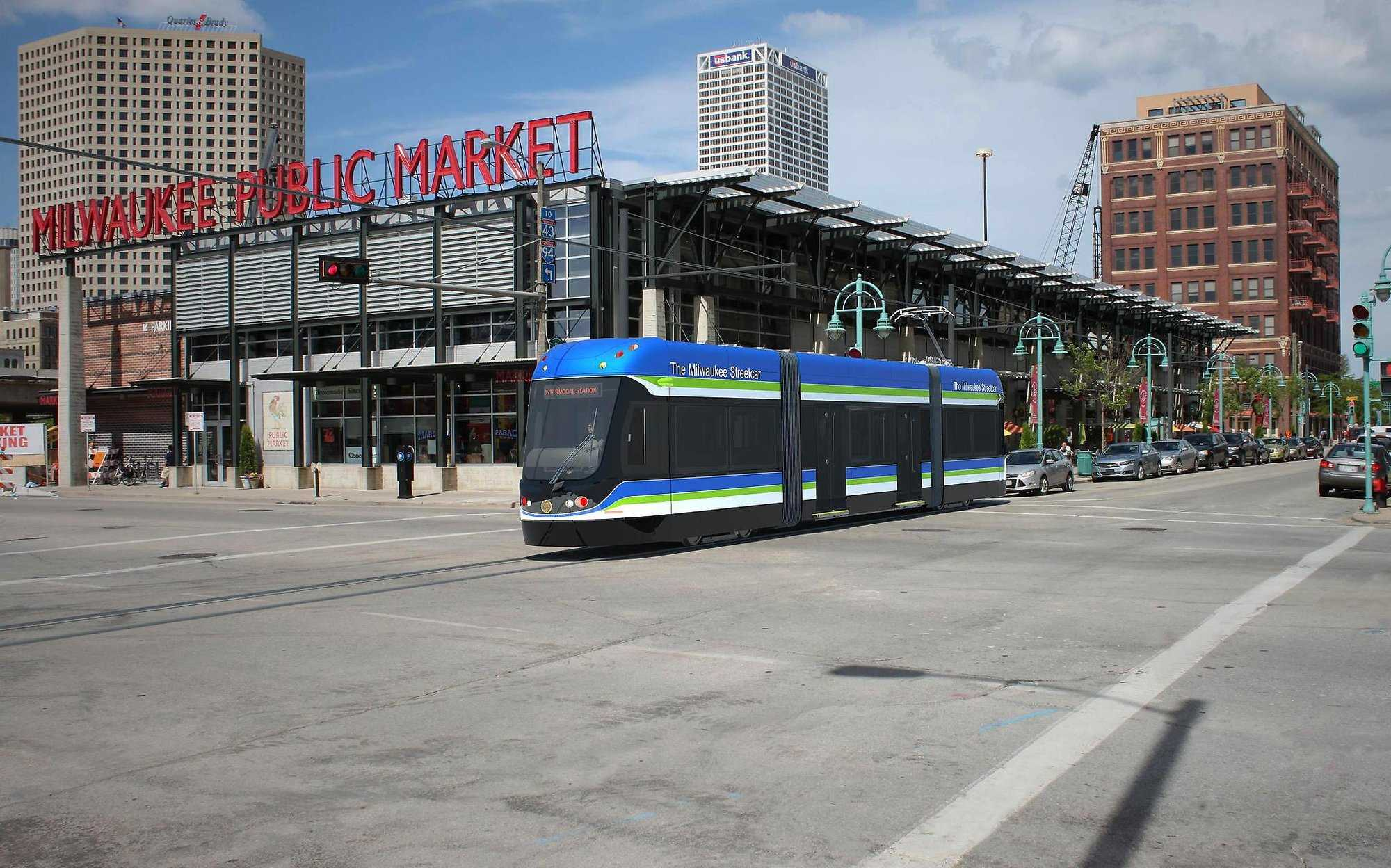 The streetcar's 2.5-mile route will include the downtown area and a loop around the lakefront, including major Milwaukee events, like Summerfest, along Streetcar stops. Photo via themilwaukeestreetcar.com