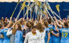 Five score hat tricks in women's lacrosse victory