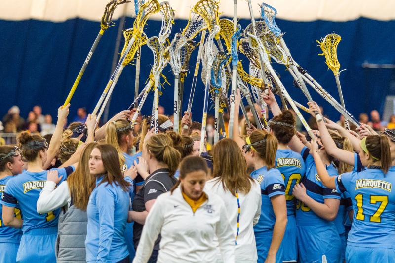 Five score hat tricks in womens lacrosse victory