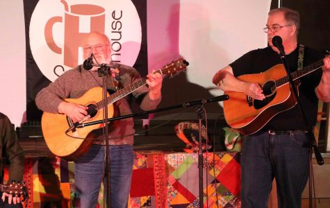 David Drake and John Higgins perform at The Coffee House's monthly open mic night March 26.