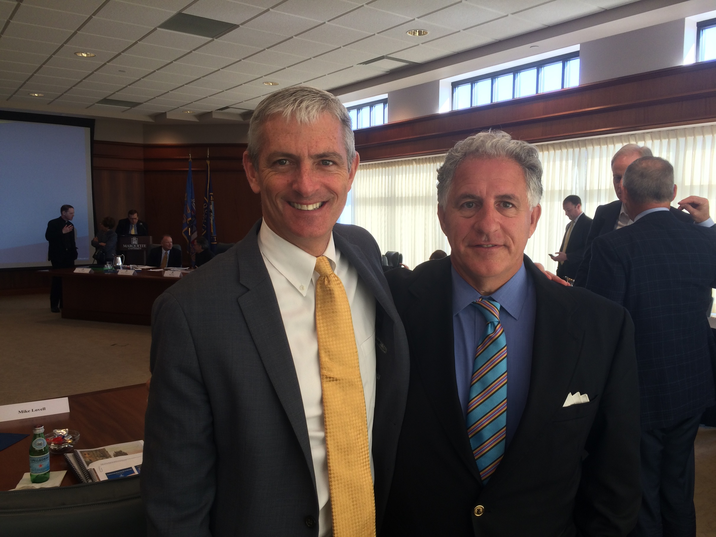 University President Michael Lovell and Chair John Ferraro pose in the board room after the most recent meeting. Photo courtesy of Brian Dorrington.
