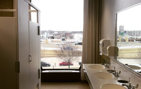 The massive window in the women's restroom on Lalumiere's third floor shows everything South Milwaukee has to offer. Photo by Yue Yin.