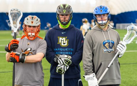 From left to right: B.J. Grill of the Denver Outlaws, Jake Richard of the New York Lizards and Ryan Brown of the Charlotte Hounds.
