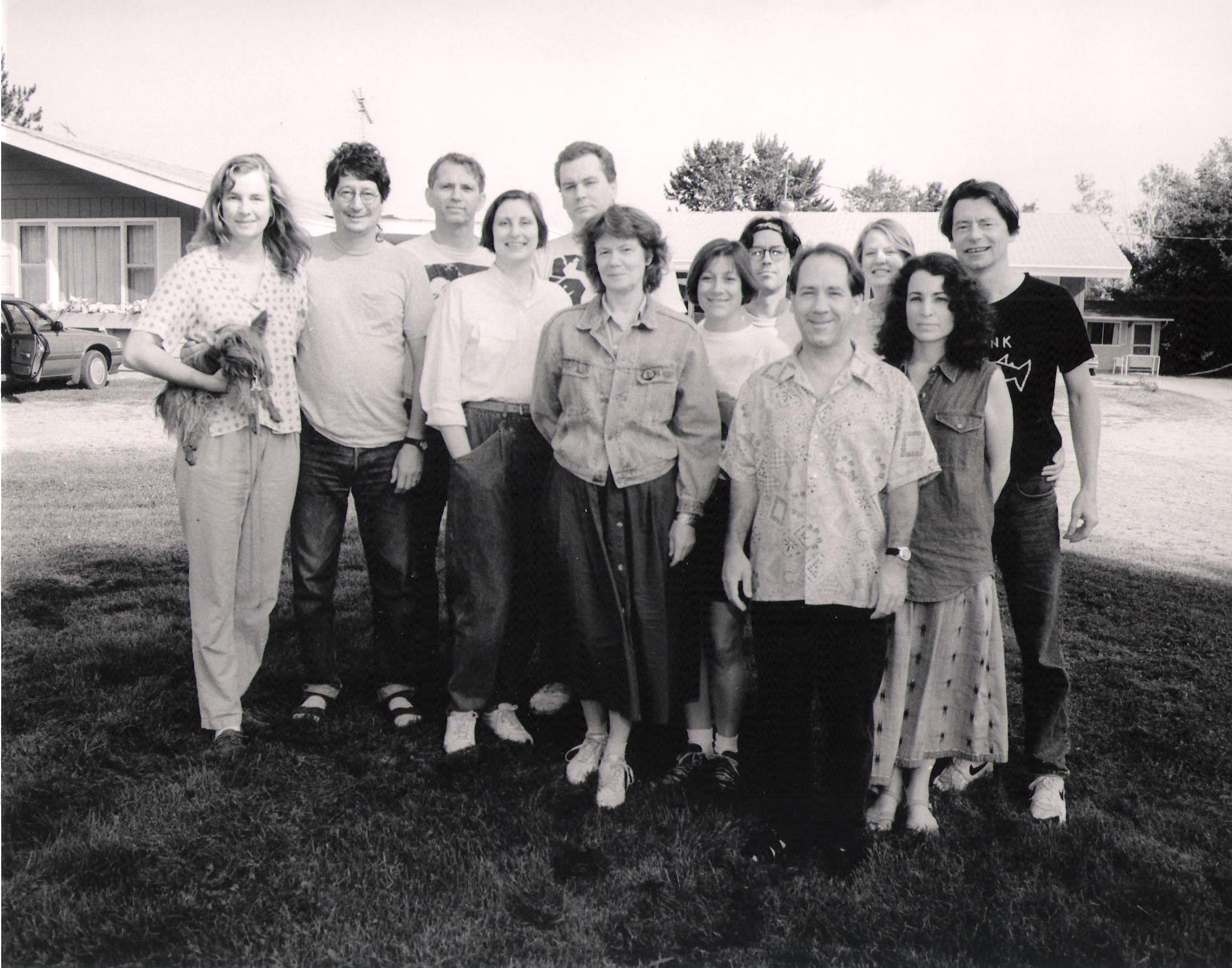 Schneider (center) and other members of Theatre X at the Potowatomi reservation when working on