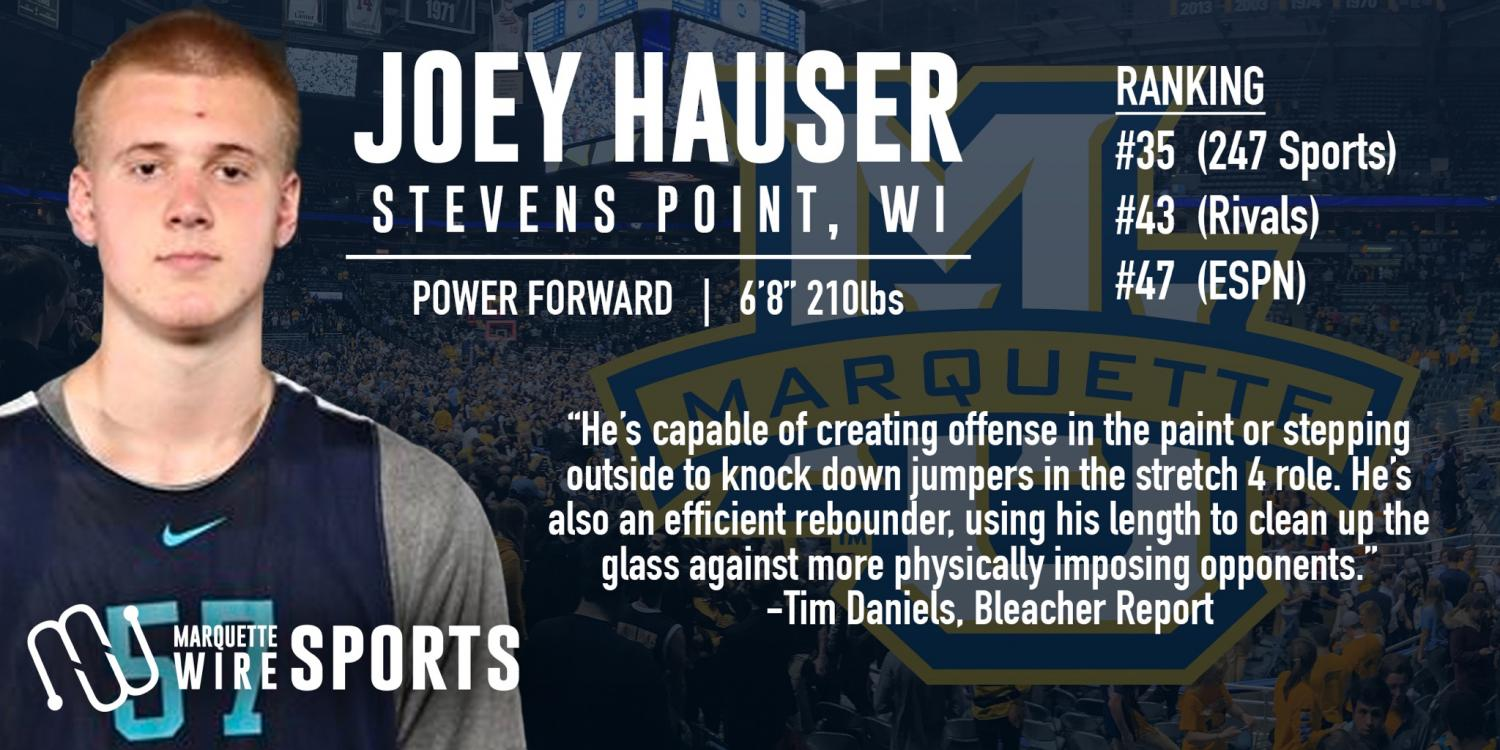 Joey Hauser is Marquette's first top 50 recruit since Henry Ellenson in 2015.