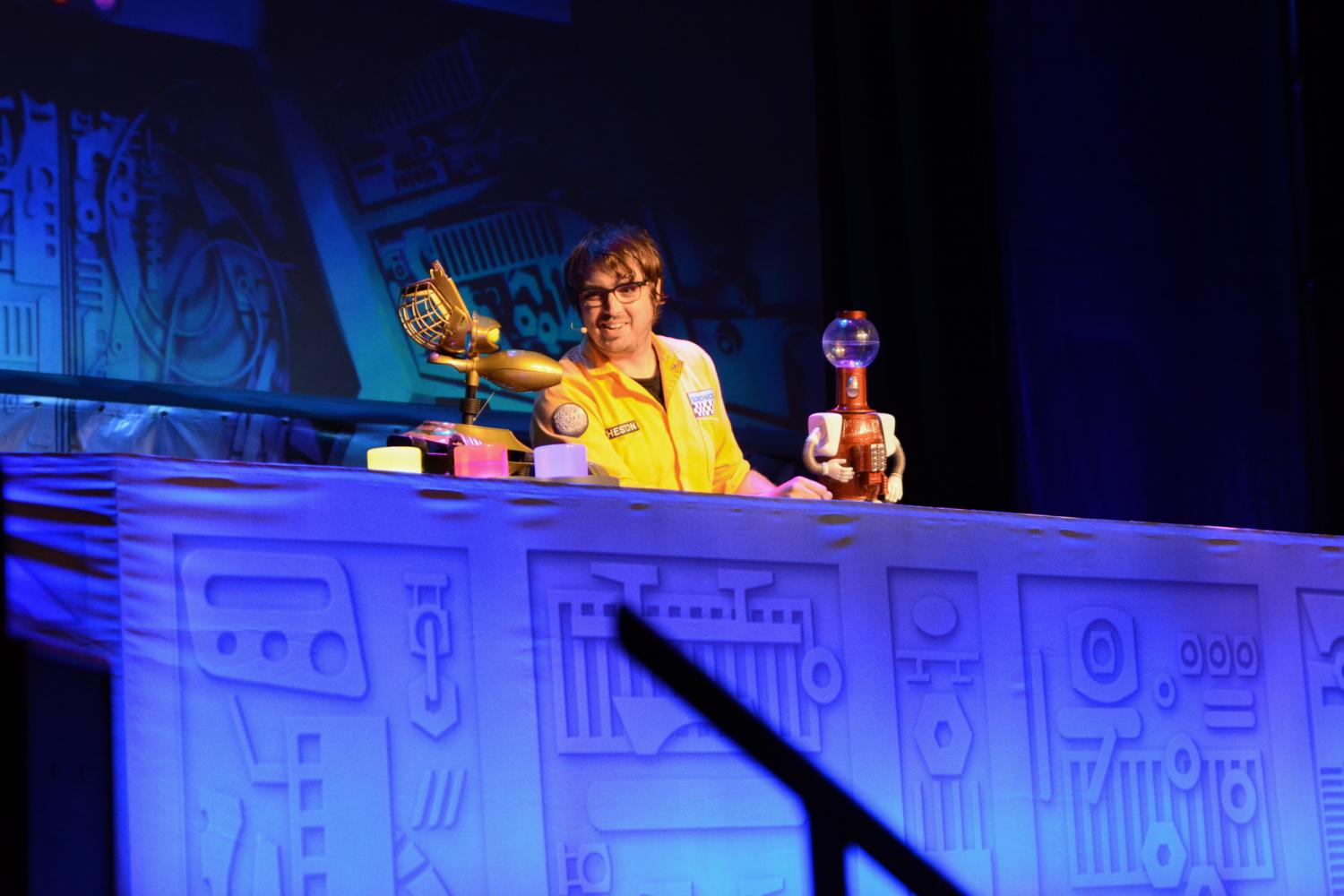 Jonah Ray with his robot friends Tom Servo and Crow T. Robot. Photo via: Brianna Griepentrog/PTG Live Events