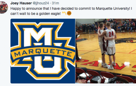 Joey Hauser's commitment to Marquette completes Wojo's 2018 recruiting class. (Screenshot from Joey Hauser's Twitter account.)