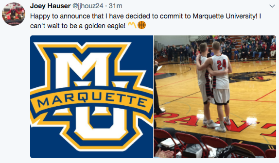 Breaking: 2018 recruit Joey Hauser commits to Marquette