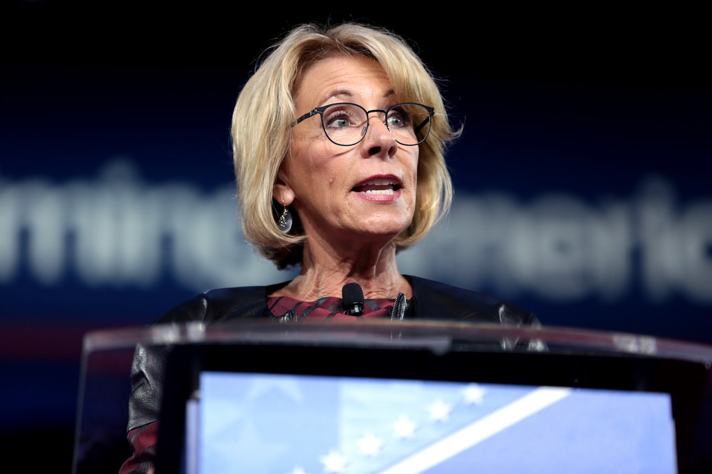 U.S.+Secretary+of+Education%2C+Betsy+DeVos%2C+speaking+at+the+2017+Conservative+Political+Action+Conference.