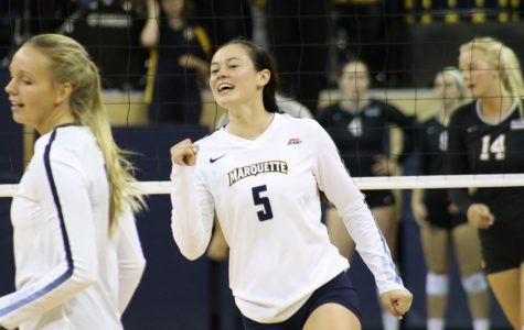 Setter Lauren Speckman had 27 assists, but it wasn't enough as Wisconsin defeated Marquette in the first round of the NCAA Tournament Friday night.
