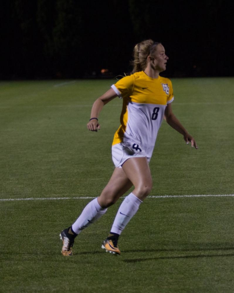 Freshman forward Kylie Sprecher notched an assist  on Eli Beard's 32nd minute goal.
