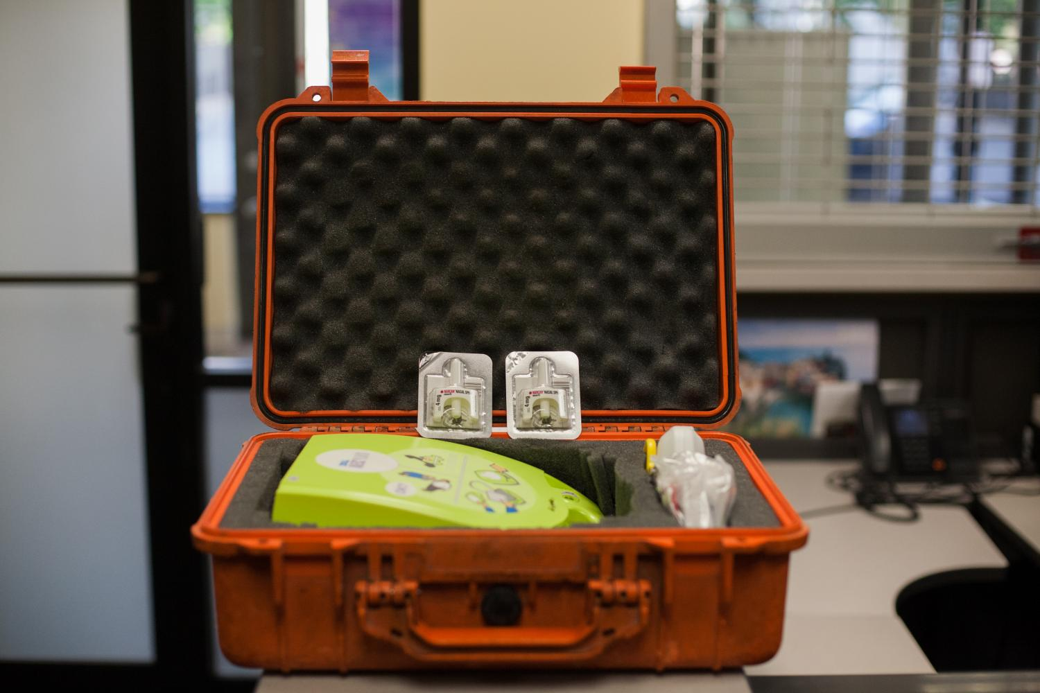 Two+containers+of+Narcan+nasal+spray.+MUPD+keeps+these+in+their+AED+kits.