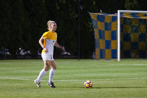 Powell's two goals propel women's soccer past Drake