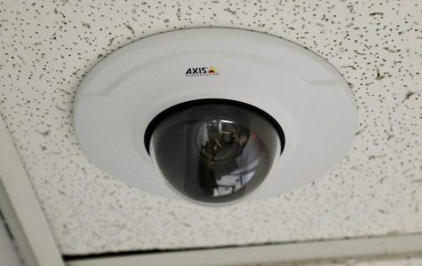 A new security camera in Schroeder Hall. Cameras were placed in the hallways last spring.