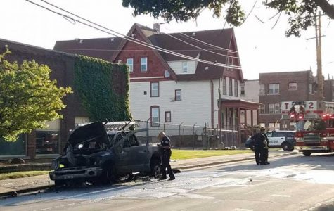 Truck catches fire on Michigan Street