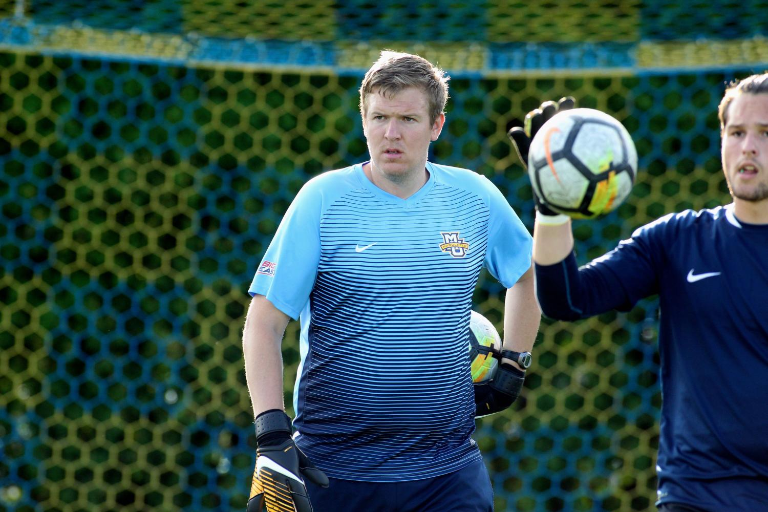 Goalkeepers coach Graham Shaw came over from Liverpool, England to coach Marquette's goalies.