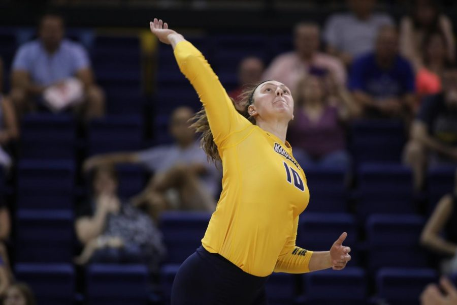 Sophomore+outside+hitter+Allie+Barber+is+averaging+nearly+five+kills+per+set+this+year.