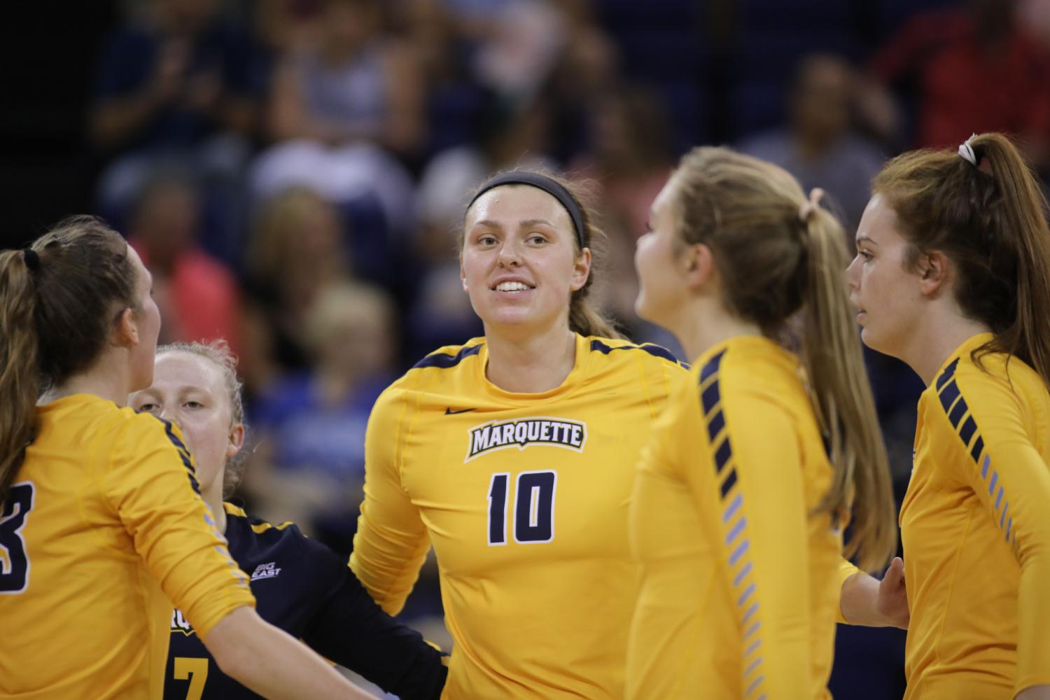 Allie Barber smashed 21 kills in Marquette's three-set win over No. 12 Creighton.