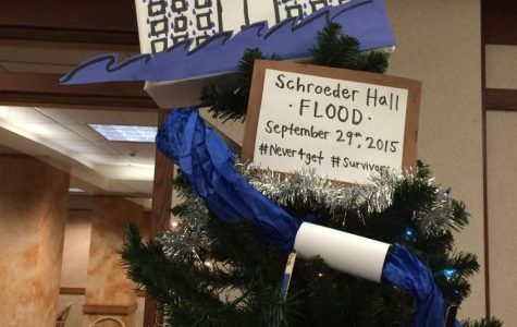 A Christmas tree students made in the Schroeder lobby following the flood. Photo courtesy of Jennifer Walter