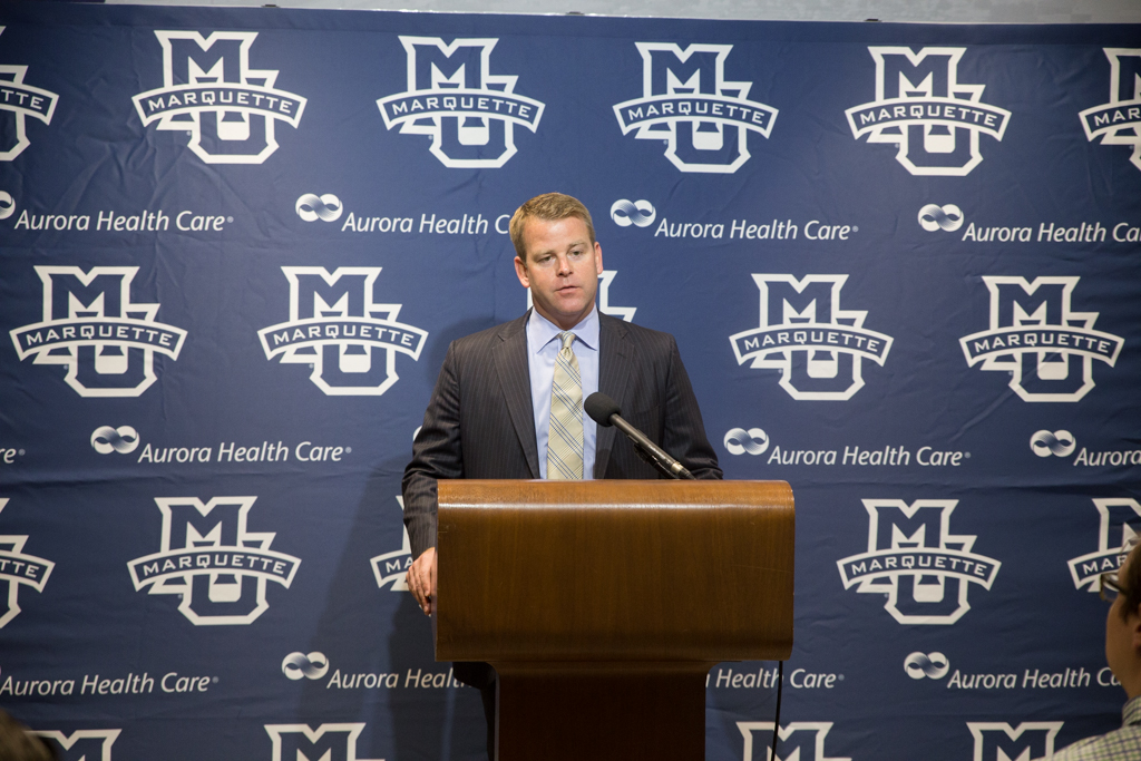 Head+coach+Steve+Wojciechowski+speaks+to+the+media+at+the+season-opening+press+conference.