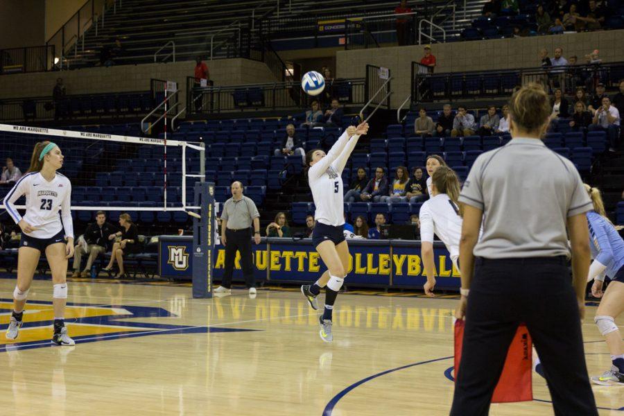Volleyball splits weekend road series against Villanova, Georgetown