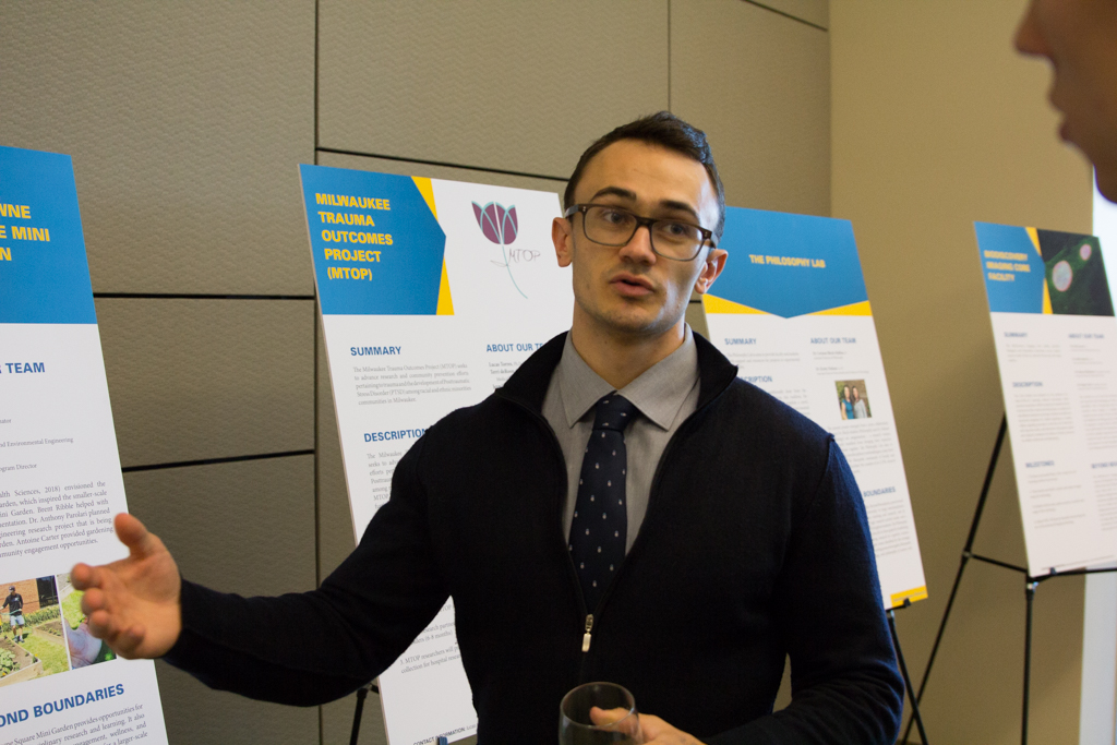 Aidan Flanagan, a senior in the College of Health Sciences, created the Westowne Square Mini Garden, a 2017 SIF awardee, as a response to the rate of homelessness in downtown Milwaukee.