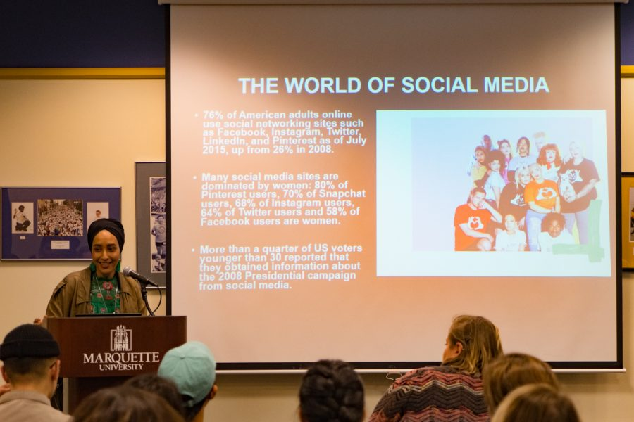 Mariah Idrissi spoke to students in the AMU.