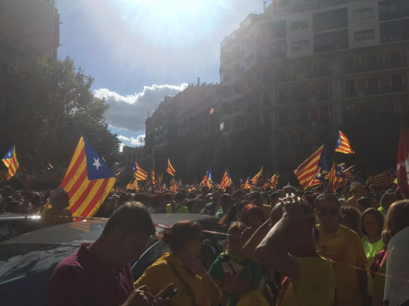 Photo courtesy of Julia Uriach Dasca Catalonian people took to the streets to protest police violence following Sunday's illegal independence referendum attempt.