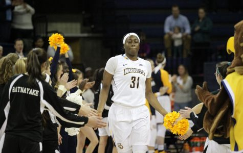 Senior center Shantelle Valentine has seen her playing time decrease, but her leadership role increase over the course of four years with women's basketball. (Photo courtesy of Marquette athletics.)