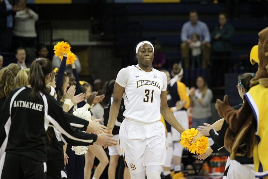 Senior+center+Shantelle+Valentine+has+seen+her+playing+time+decrease%2C+but+her+leadership+role+increase+over+the+course+of+four+years+with+women%27s+basketball.+%28Photo+courtesy+of+Marquette+athletics.%29