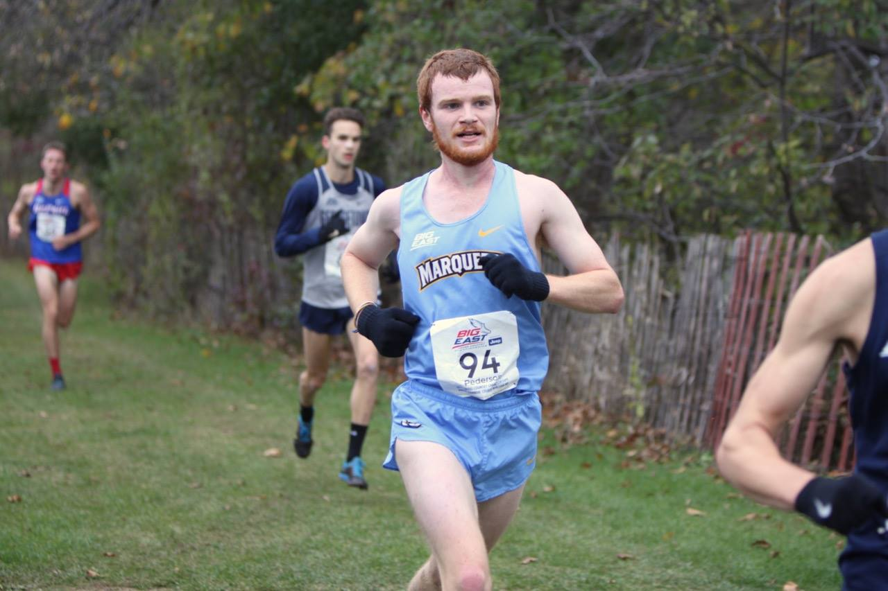 Sophomore Daniel Pederson competes at the BIG EAST Championships race on Oct. 28. Pederson finished eighth place overall.