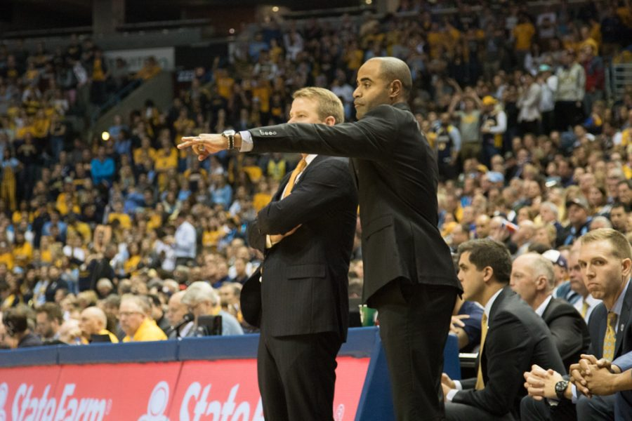 Head+coach+Steve+Wojciechowski+and+associate+head+coach+instructs+players+during+Marquette%27s+86-71+loss+to+Purdue.