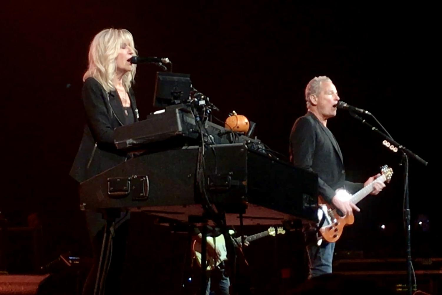 Christine McVie (left) and Lindsey Buckingham (right) on stage in Milwaukee. Photo by Helen Dudley