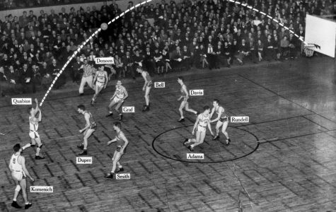 An illustration of the trajectory of a shot made by Dave Quabius in a game against the University of Wisconsin-Madison in 1930. (Photo Courtesy: