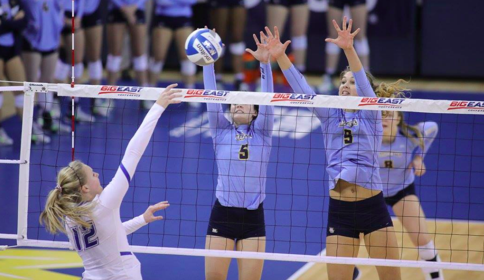 Jenna Rosenthal and Lauren Speckman attempt a block against Creighton in the BIG EAST Championship. The Golden Eagles will meet in-state rival University of Wisconsin-Madison on Friday in Ames, Iowa in the first round of the NCAA Tournament. This is Marquette's seventh straight tournament appearance.