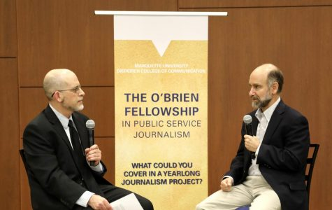"""Hosted in Eckstein Hall, the O'Brien conference focused on Pulitzer Prize winner Mark Johnson's (left) series """"Outbreak,"""" which he worked on with Marquette students as part of the fellowship. Johnson interviewed Nobel Peace Prize winner Dr. Jonathan Patz (right,) whocurrently serves as the director of the Global Health Institute at the University of Wisconsin-Madison, about the relationship between animal to human diseases."""