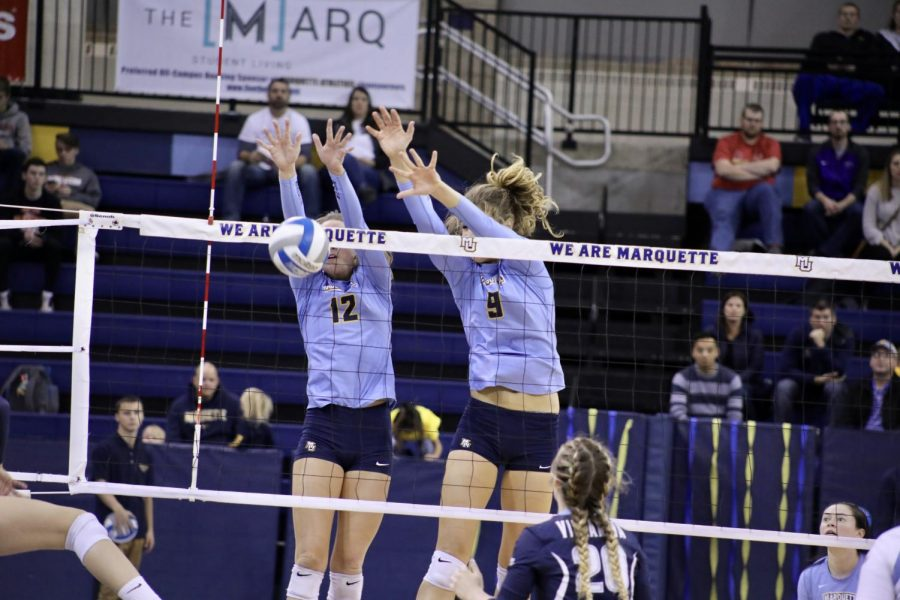 Volleyball+clinches+tournament+spot+with+wins+over+Georgetown%2C+Villanova