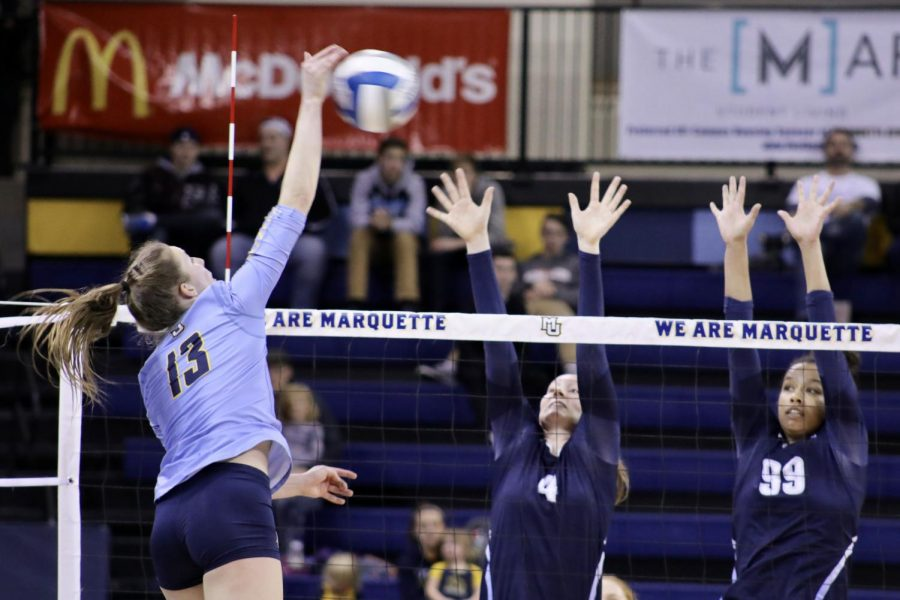 Junior Anna Haak put up 25 kills and 23 digs against Villanova last weekend. She followed it up with 20 kills and 20 digs against Butler in the BIG EAST semifinals.