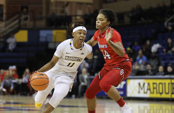 Allazia Blockton led all scorers with 19 points in Marquette's win over St. John's. (Photo courtesy of Marquette Athletics.)