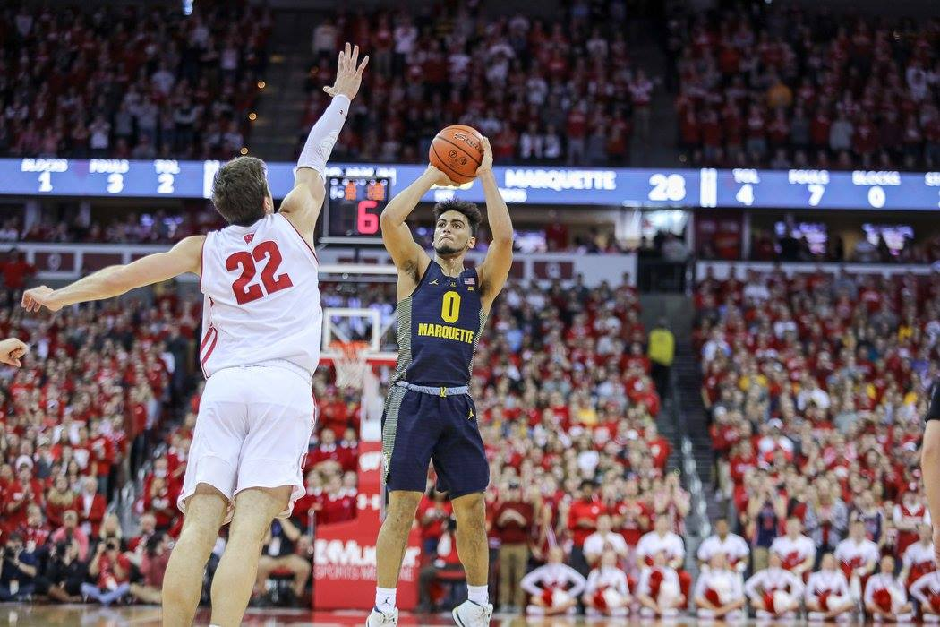 Markus Howard had 23 points, including 16 first-half points. (Photo courtesy of Marquette Athletics.)