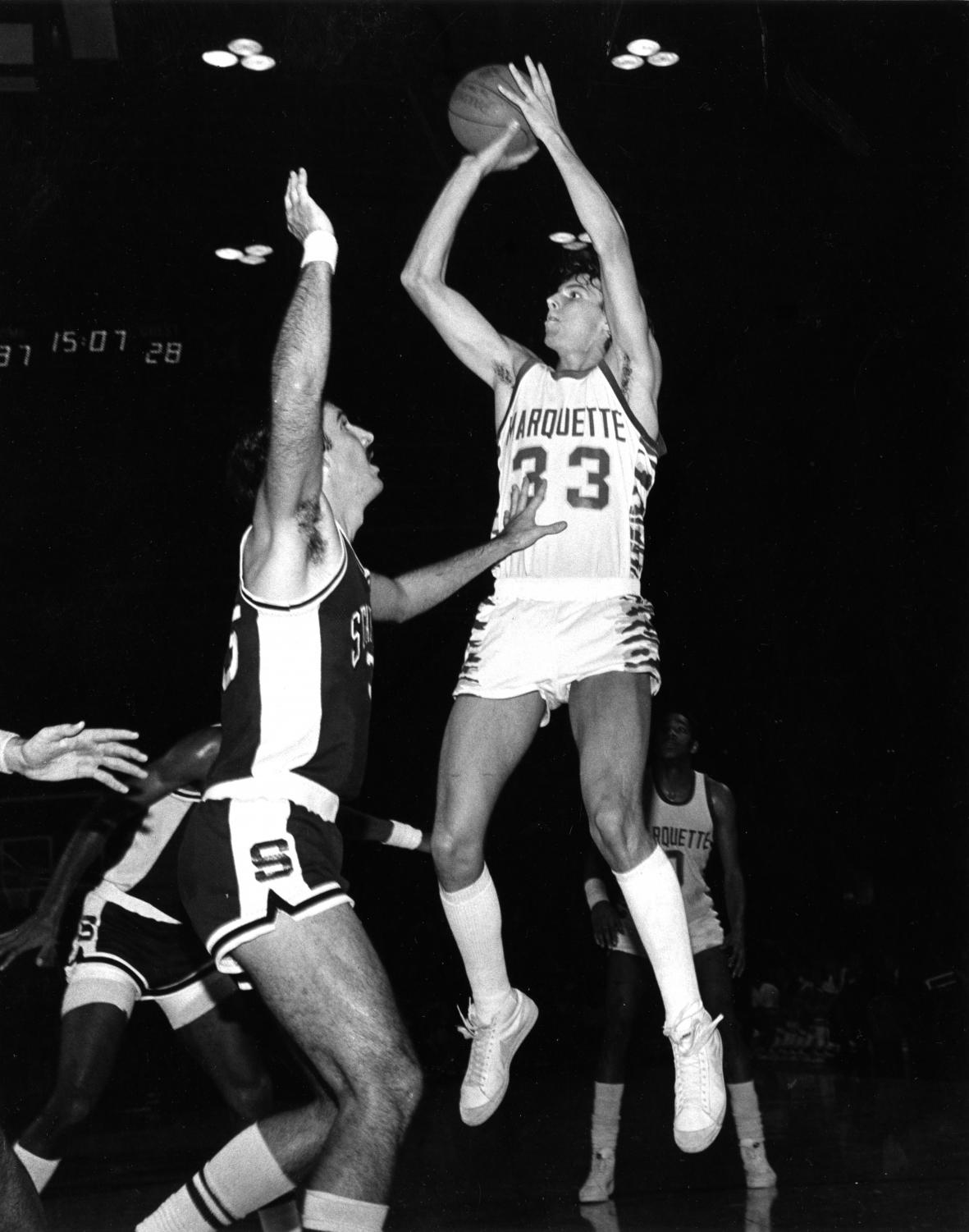Wisconsin player T.J. Schlundt's father, Terrell, played at Marquette in the early 1980s. (Photo courtesy of Marquette University Department of Special Collections and University Archives).