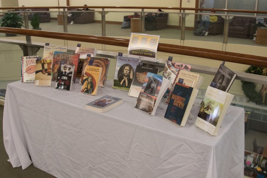 Books+by+Native+American+authors+were+displayed+in+Raynor+Memorial+Library+in+honor+of+Native+American+Heritage+Month.
