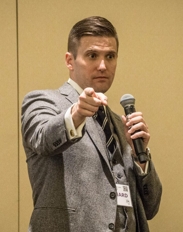 White+nationalist+Richard+Spencer+delivers+a+speech+in+2016.
