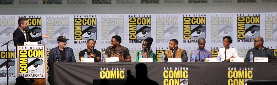 Cast+members+of+Marvel%27s+%22Black+Panther%22+attend+a+panel+at+Comic+Con.