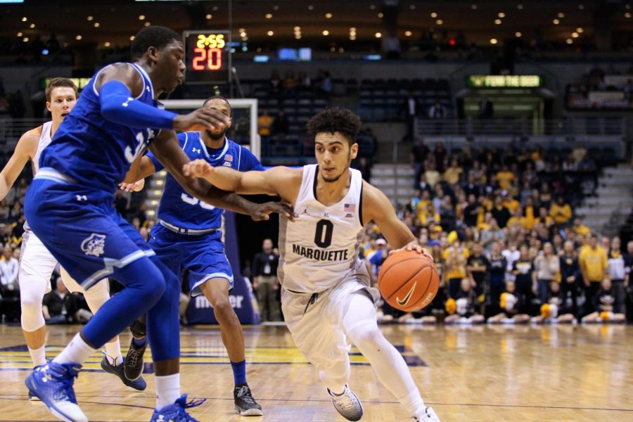 Sophomore+Markus+Howard+was+named+the+BIG+EAST+player+of+the+week+after+his+performances+against+Providence+and+Villanova.+%28Photo+courtesy+of+Marquette+Athletics.%29