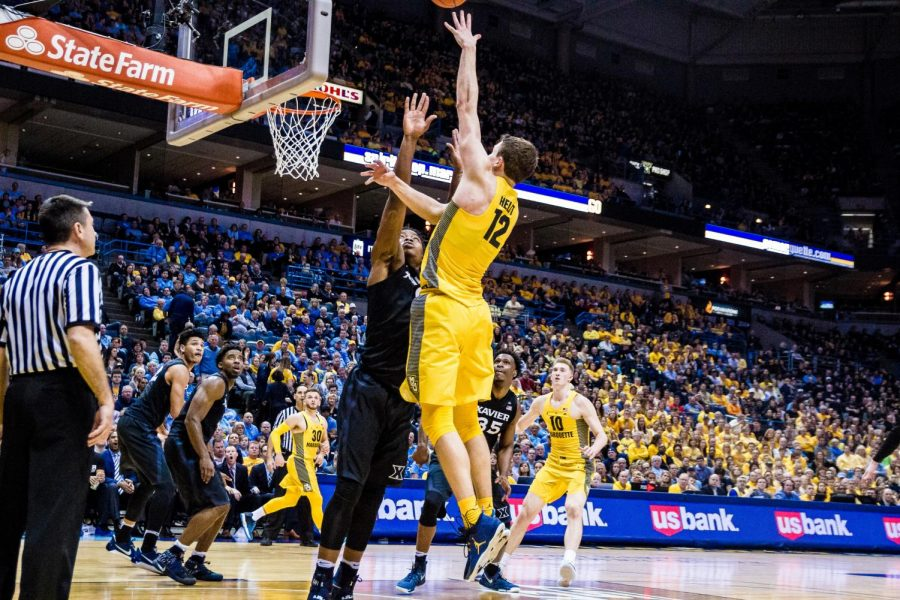 Matt+Heldt+scored+six+points+on+3-of-3+shooting+and+had+a+vital+block+in+Marquette%27s+72-69+BIG+EAST+Tournament+win+vs.+DePaul+%28Wire+stock+photo%29.